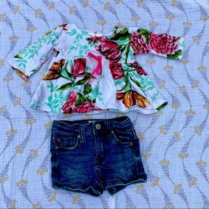 HUDSON Jeans Toddler Girls Floral Tops and Shorts